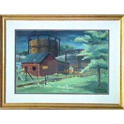 Bruce Mitchell, framed gouache, railroad trac