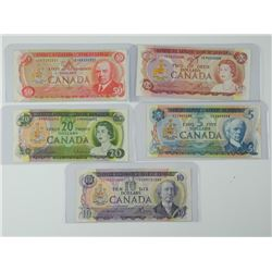 5x Bank of Canada Multicolour Series: Two, Five, T