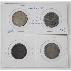 4x USA Columbian Silver 50 Cent (1892-1893)