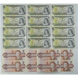 Lot of Uncut Bank of Canada $1 and $2.