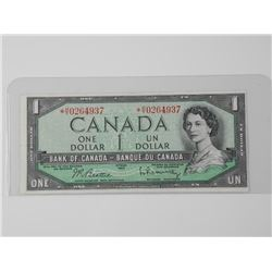 Bank of Canada 1954 * Replacement One Dollar Note