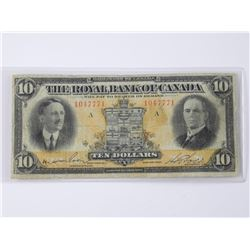 The Royal Bank of Canada - January 1927 Ten Dollar