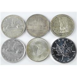 6x Canada Silver Dollar Coins and 9999 Fine Silver