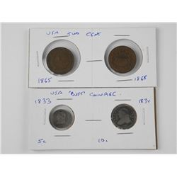 4x USA Coins - 1833 and 1834 Bust Coinage, 1865 an