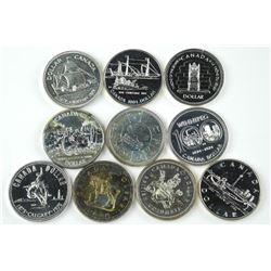 10x Canada Silver Dollars, Mixed Dates