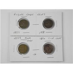 4x USA Flying Eagle Cents. 1857, 1858, 1860