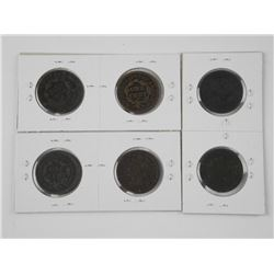 6x USA Large Cent Coins: 1832, 1843, 1947, 1852