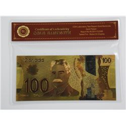 Canada One Hundred Dollar Banknote. Gold Plated -