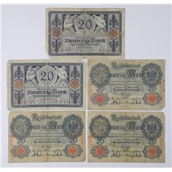 5x German 20 Mark Notes. Dated 1914-1915