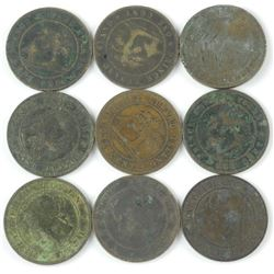 9x PEI 1871 Large One Cent