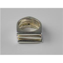 Solid 925 Sterling Silver Triple Ring Set. Size 5.