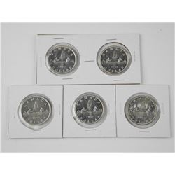 5x Canada Silver Dollar Coins: 1953 SS, 1953 NSS,