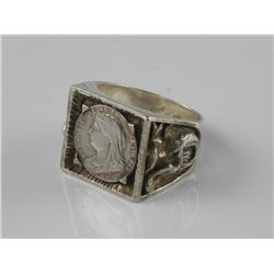 925 Sterling Silver Coin Ring. Size 10.5