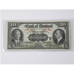 Bank of Montreal - 1931 Ten Dollar Note. Large For