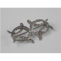 Estate 925 Sterling Silver Pin Hand Set with Pink