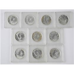 10x 1964 Kennedy 'Silver' 50 Cent. Cased.