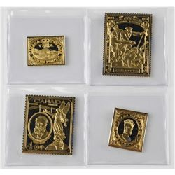 4x 24kt over 925 Sterling Silver Canada Postage St