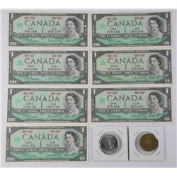 Lot (1867-1967) Collectibles - 7x One Dollar Notes