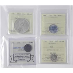 4x Coins - ICCS and SMR: 1966 $1.00 MS65, 1956 10c