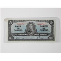 Bank of Canada 1937 - Five Dollar Note (AU) (MXR)