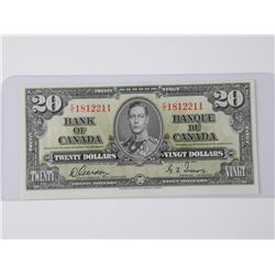 Bank of Canada 1937 Twenty Dollar Note. UNC. (MXR)