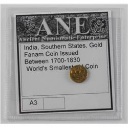 India, Southern States, Gold FANAM Coin, Issued 17