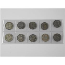 10x Canada Silver 50 Cent Coins: 1940s-1950s