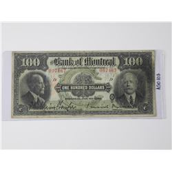 Bank of Montreal - 1923 One Hundred Dollar Note (M