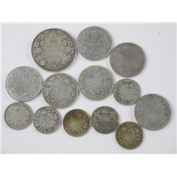 13x Silver - Old Canada Coins. Mixed George, Edwar