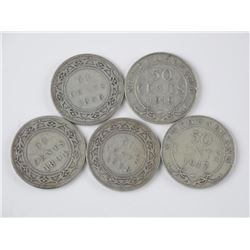 5x Canada Silver NFLD 50cent - 1894, 1896, 1898, 1