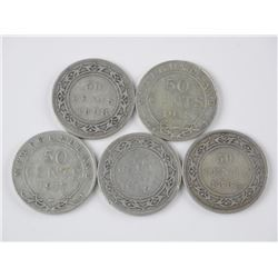 5x Silver NFLD 50 Cents: 1882, 1898, 1899, 1917, 1