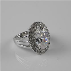 925 Silver Oval Ring Set with Swarovski Elements.