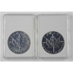 2x 2009 .9999 Fine Silver Maple Leaf $5.00 and 201