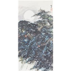 Chinese Watercolour Moon and Pine Signed by Artist