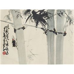 Zhao Shaoang 1905-1998 Chinese Watercolour Roll