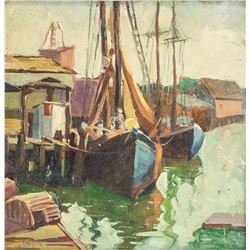 Grace S. Clark 1885-1945 American Oil Harbor Scene