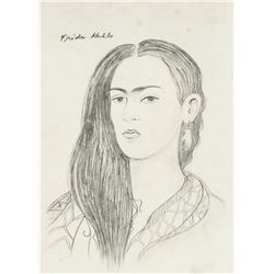 Frida Kahlo 1907-1954 Mexico Pencil Self Portrait