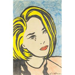 Roy Lichtenstein 1923-1997 US Pencil Girl Crying