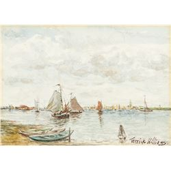 Terrick Williams 1860-1936 UK Watercolor Harbor