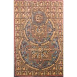 Chinese Tanka of Mandala on Canvas Dated 1971