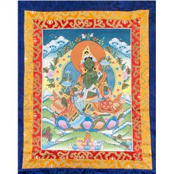 Tibetan Green Tara Thangka Painting Roll