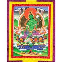 Tibetan Green Tara Thangka Painting Scroll