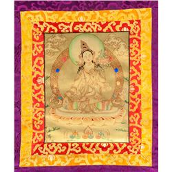 Tibetan White Tara Thangka Painting Scroll