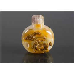 Chinese 19th C. Chalcedony Carved Snuff Bottle