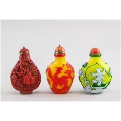 3 Assorted Chinese Glass and Lacquer Snuff Bottles