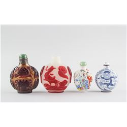 4 Assorted Chinese Glass & Porcelain Snuff Bottles