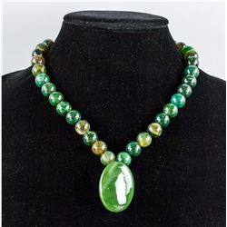 Chinese Green Hardstone Carved Pendant & Necklace
