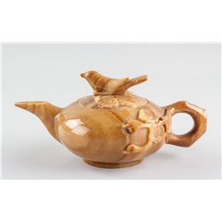 Chinese Yellow Hardstone Carved Teapot