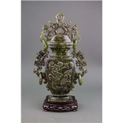 Chinese Fine Green Hardstone Carved Vase