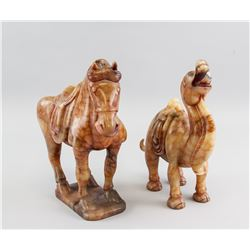 2 Chinese Red Hardstone Carved Horse and Camel